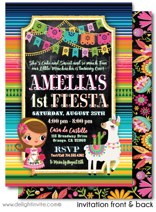 "Mexican ""Little Muchacha"" Fiesta ""Papel Picado"" Paper Flags 1st Birthday Invitation Design Download"