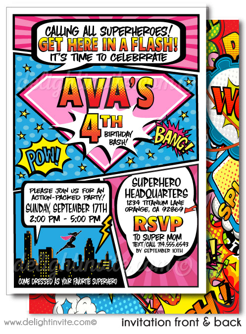 Pink Superhero Birthday Party Printed Invitations for Girls