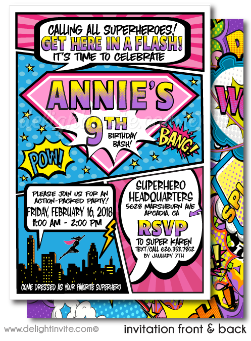 Superhero Comic Book Girl Birthday Party Printed Invitations