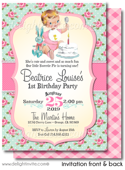 Vintage Rose 1950's First 1st Birthday Invitations for Girls