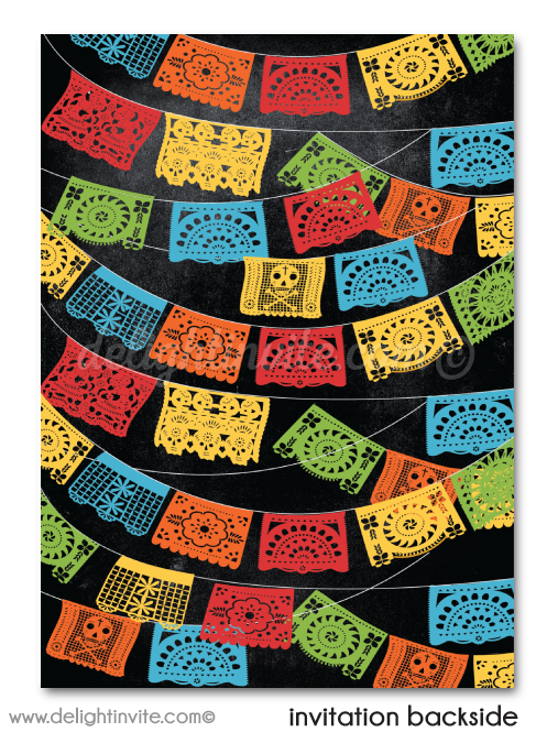 Mexican Fiesta Papel Picado Mariachi Fiesta 40th Birthday Invitation for Men
