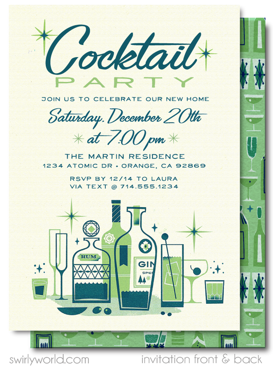 Atomic Mid-Century Modern 1950's Retro Mod Holiday Cocktail Party Invitation Digital Download