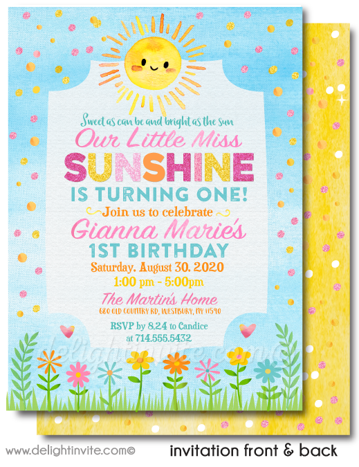 """You Are My Sunshine"" Birthday Invitations & Thank You Cards for your Little Miss Sunshine"
