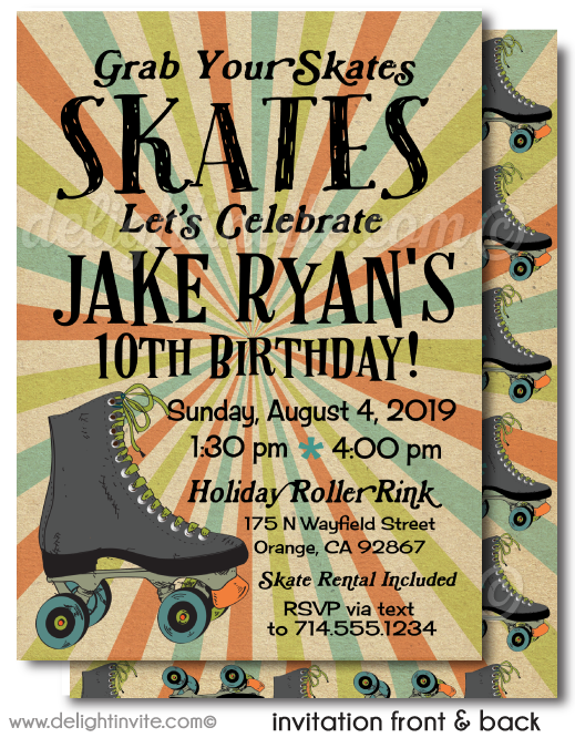 Roller Skating Theme Roller Skate Birthday Party Invitations for Boys Digital Download