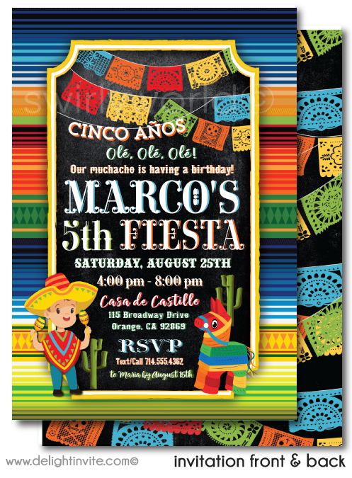 Papel Picado Paper Flags Mexican Fiesta Boy Birthday Invitations