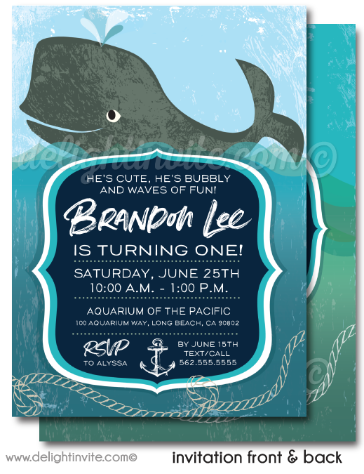 Baby Whale Nautical 1st Birthday Invitation Digital Download