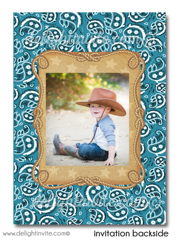 Vintage 1950s Style Retro Western Cowboy Printed Birthday Invitations