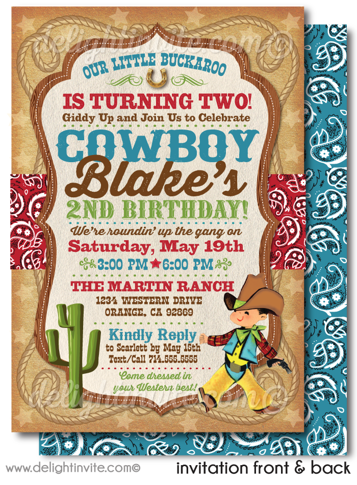 Vintage 1950's Cowboy Western Birthday Party Invitation Digital Download