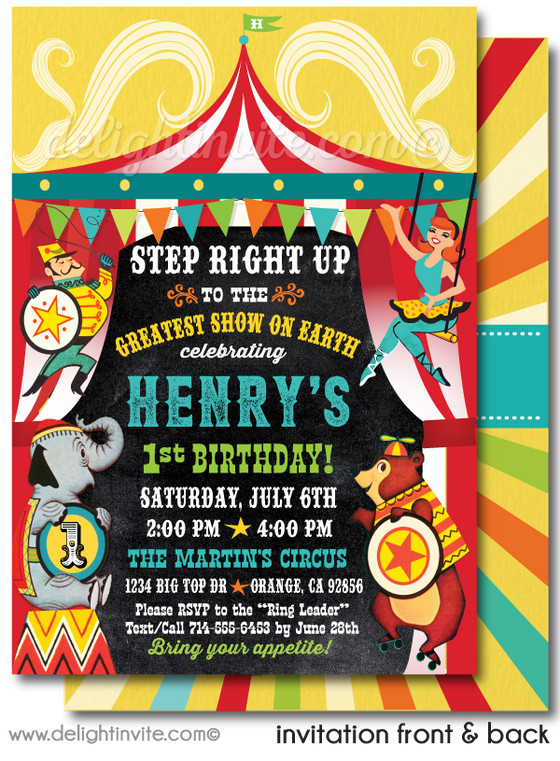 Vintage 1950's Circus Carousel Printed 1st Birthday Invitations