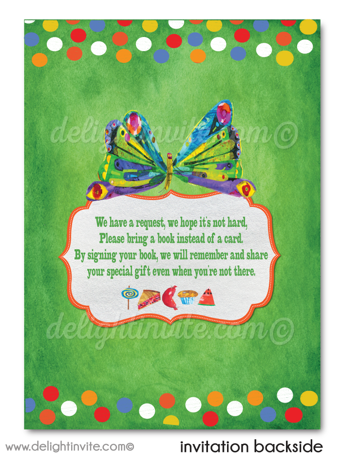 Vintage Very Hungry Little Caterpillar 1st Birthday Party Invitations