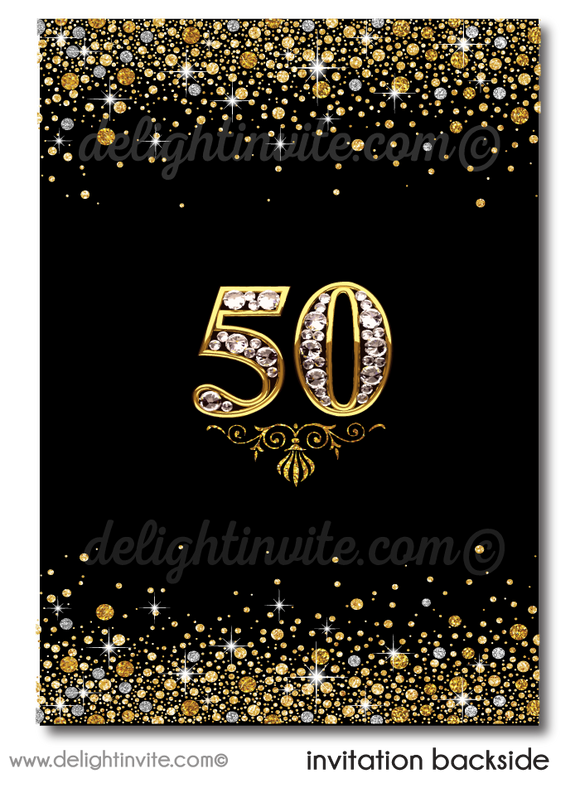 50 and fabulous. Fifty & Fabulous gold and black birthday invitation.