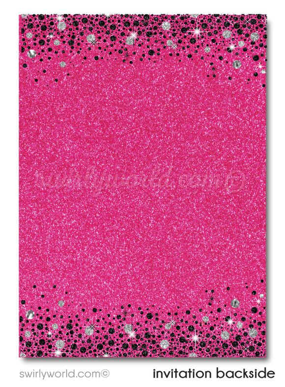 Pink and Silver Glitter Forty and Fabulous 40th Birthday Party Printed Invitations