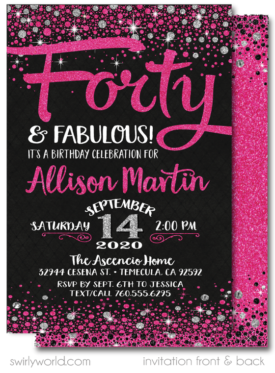 Pink and Silver Glitter Forty and Fabulous 40th Birthday Invitation Design Download