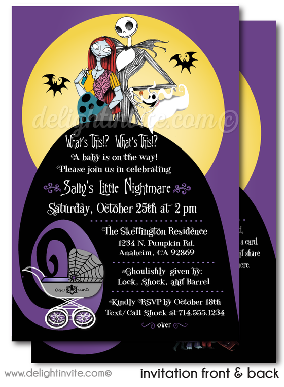Halloween Jack and Sally Nightmare Before Christmas Printed Baby Shower Invitations