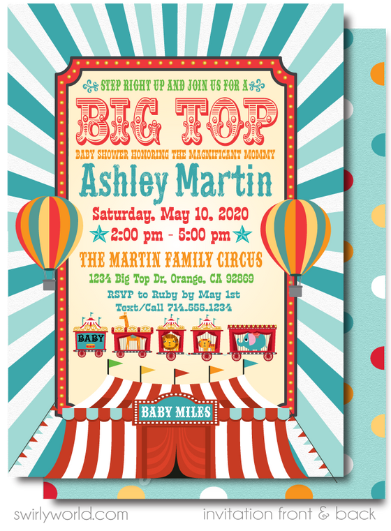 Gender Neutral Vintage Carnival Circus Big Top Baby Shower Invitation and Thank You Card Digital Download Bundle