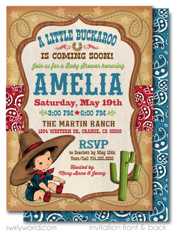 Vintage Retro Cowboy Western Couples Baby Shower Invitation and Thank You Card Digital Download Bundle