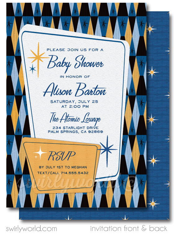 Mid-Century Modern Navy Blue and Orange Retro Boy Baby Shower Invitation Digital Download