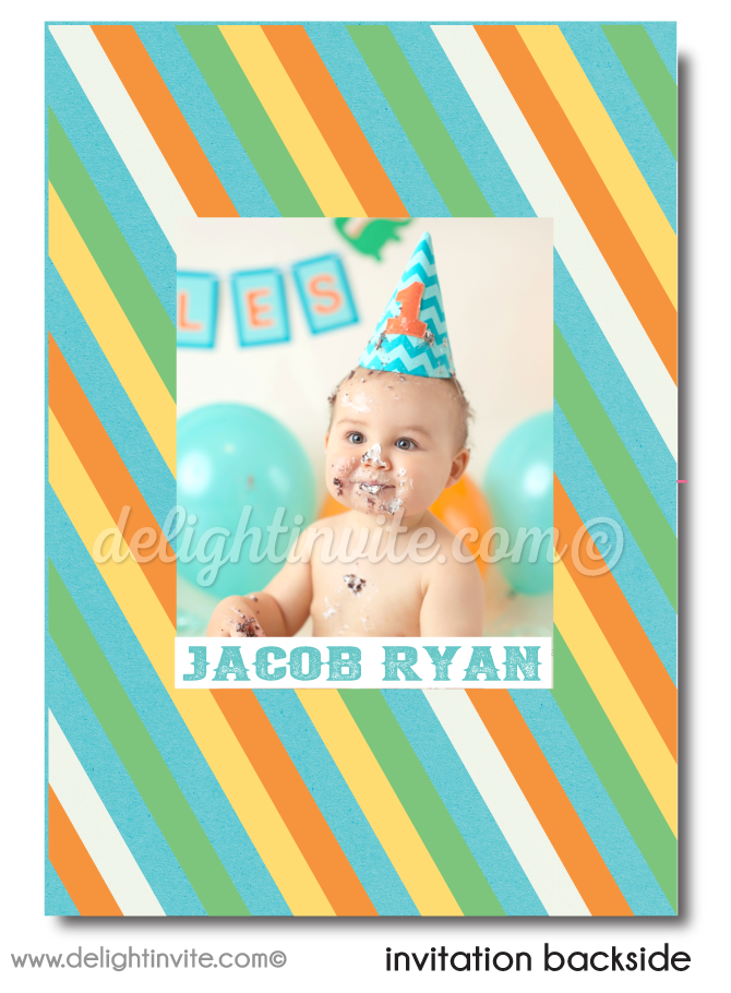 Vintage Carousel Carnival 1st Birthday Invitations For Boys
