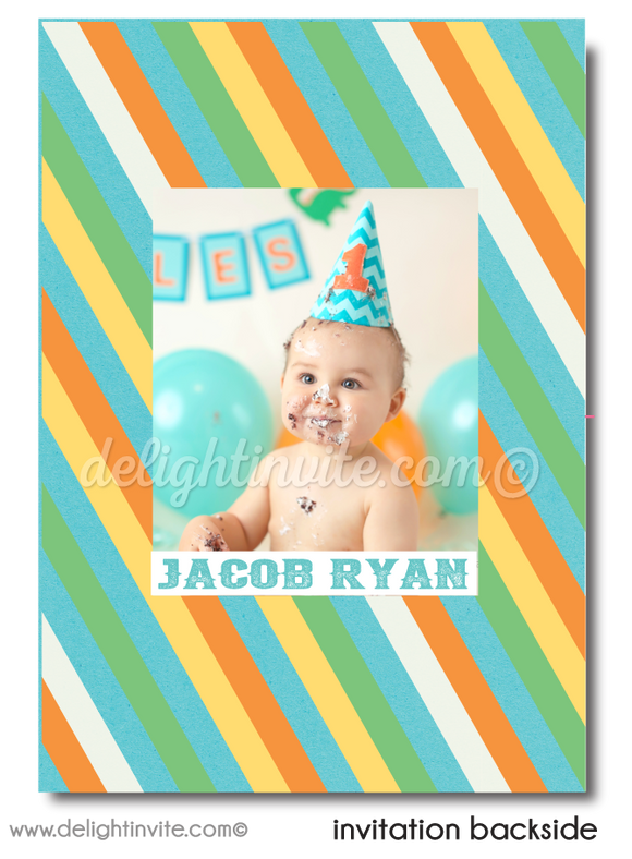 Vintage Blue and Green Carousel Boy's 1st Birthday Invitation Digital Download