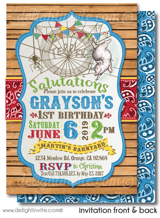 Vintage Primary Colors Charlotte's Web Barnyard Rustic 1st Birthday Invitation Digital Download