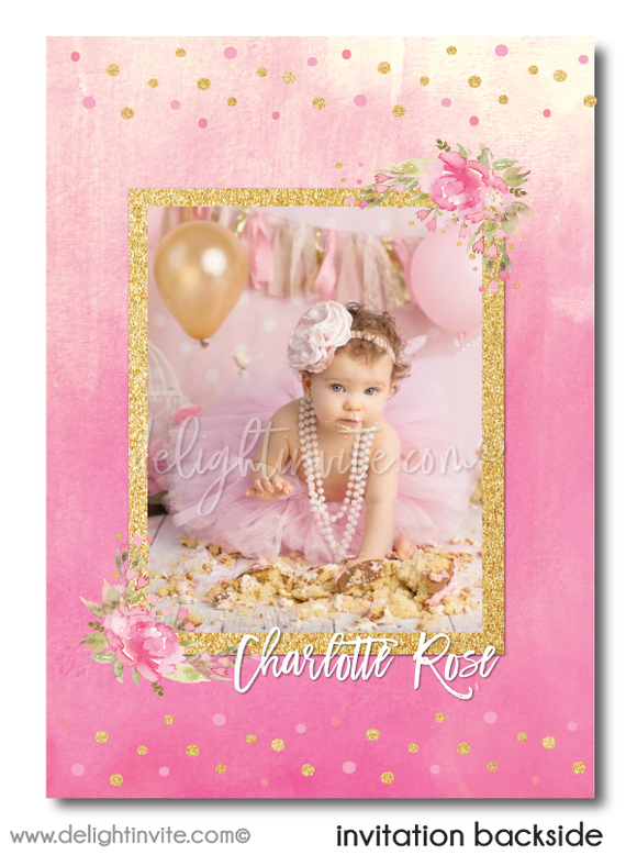 Shabby Boho Chic Pink and Gold Glitter Printed First Birthday Invitations