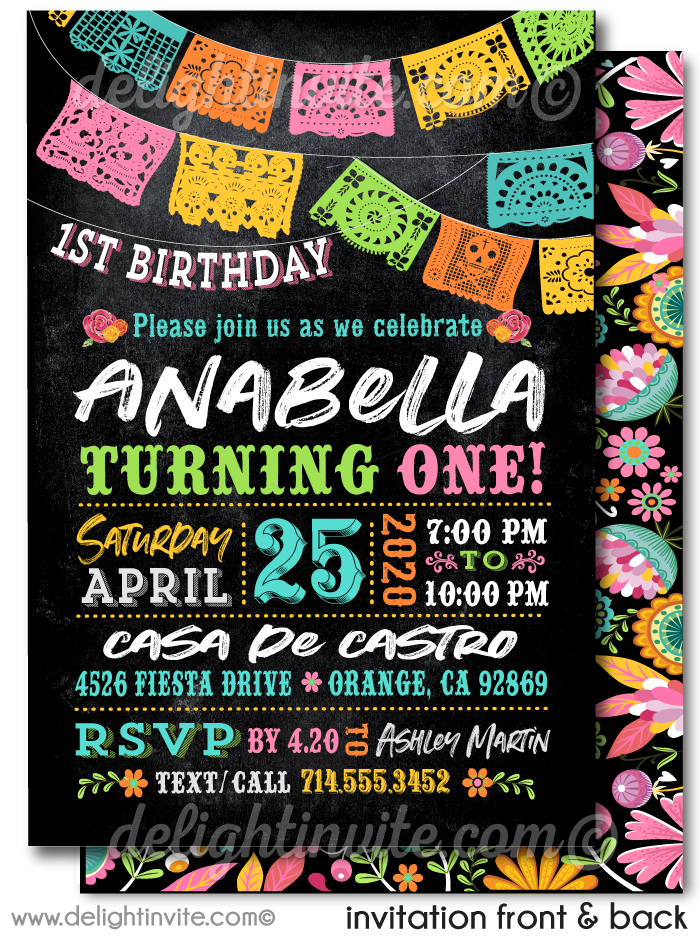 "Little Señorita Mexican ""Papel Picado"" Paper Flags Fiesta Birthday Party Invitation Digital Download"