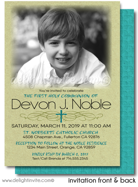 Classic Modern First Holy Communion Invitations for Boys