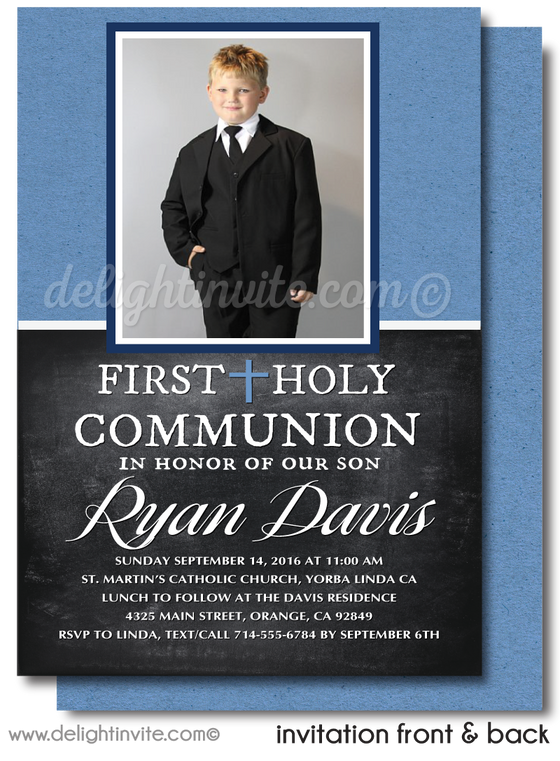Masculine Boys' First 1st Holy Communion Invitation With Photo