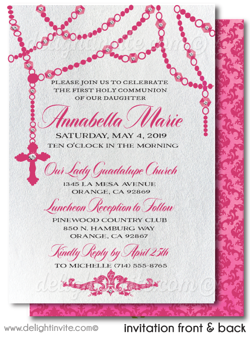 Pink Rosary Girls First Holy Communion Invitations