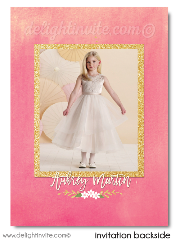 Shabby Chic Pink and Gold First 1st Holy Communion Invitation Digital Download