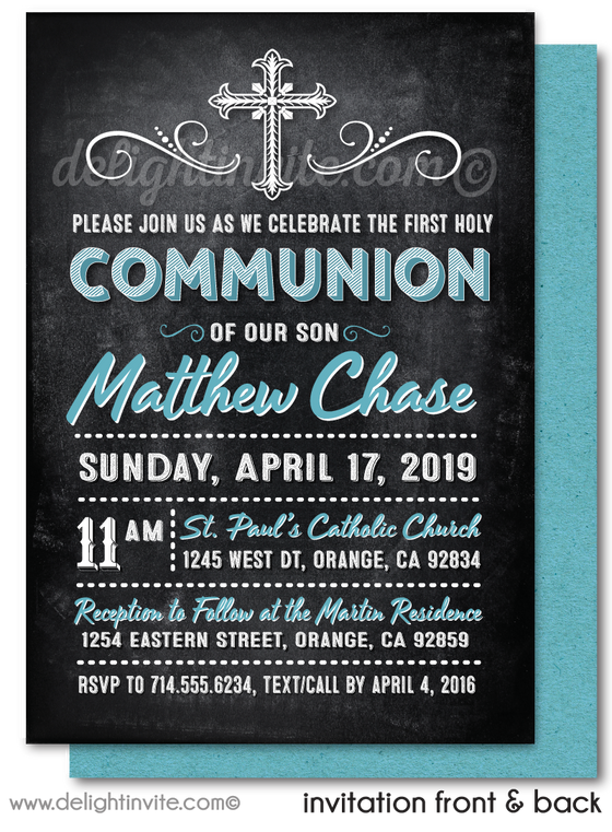 Modern Chalkboard First Holy Communion Invitations for Boys