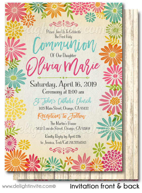 Rustic Floral First 1st Holy Communion Invitations for Girls