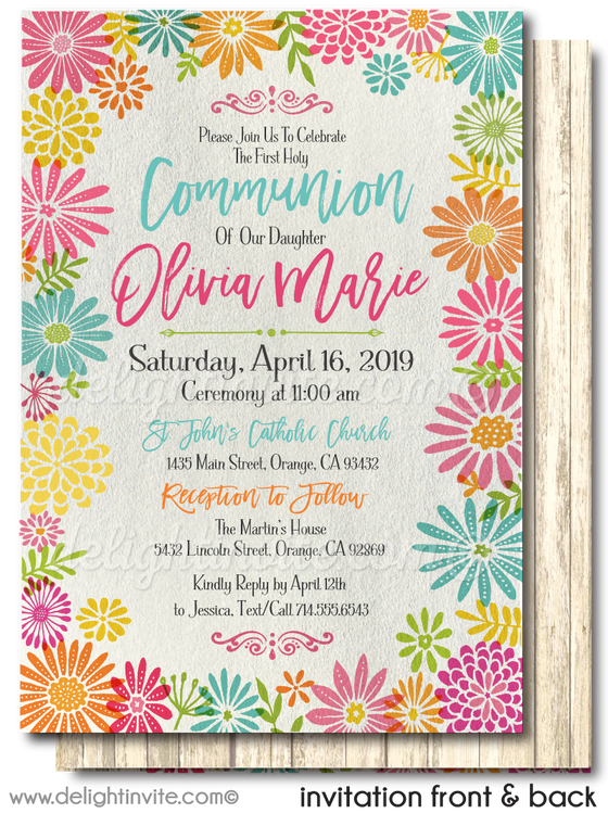 Beautiful Spring Floral Watercolor First 1st Holy Communion Invitation Digital Download
