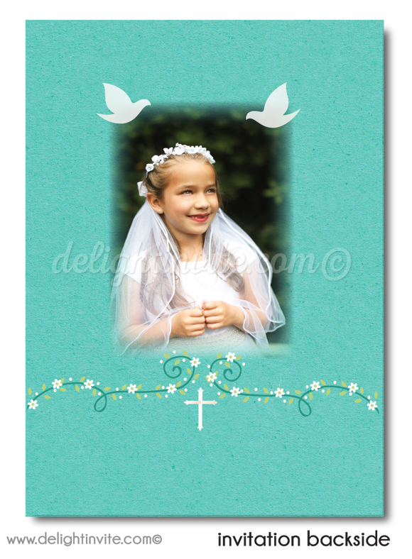 Vintage Aqua Blue Doves First 1st Holy Communion or Baptism Invitation for Girls