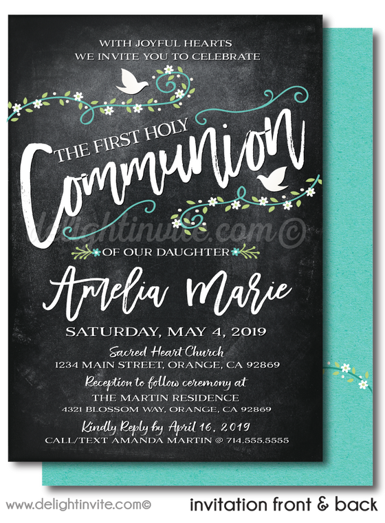 Vintage White Doves Flower Girls' 1st First Holy Communion Invitation Digital Download