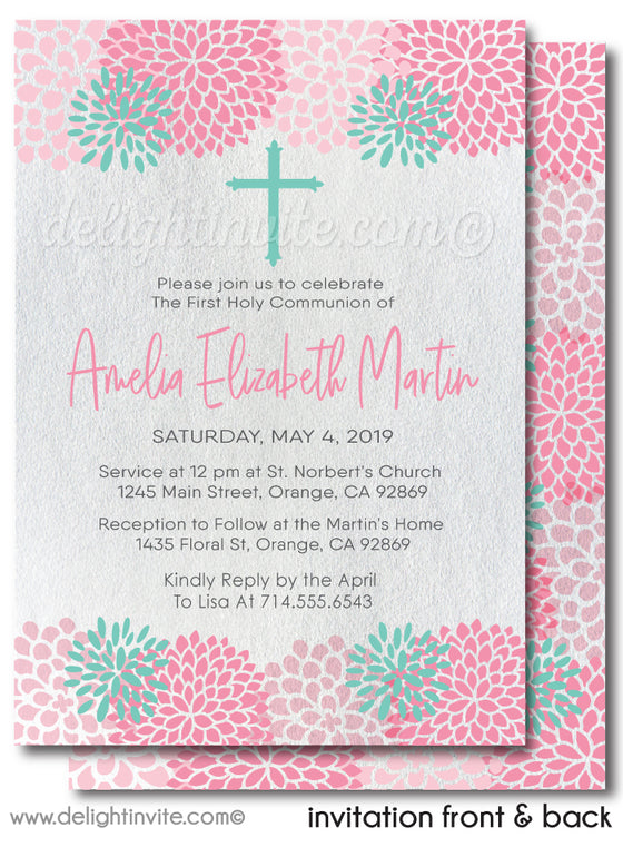 Beautiful Pink Modern Floral First 1st Holy Communion Invitation Digital Download