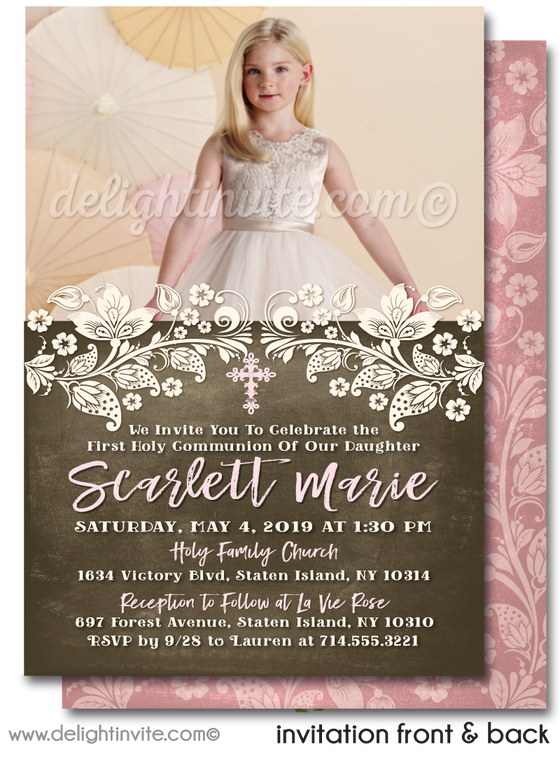 Rustic Vintage Pink Lace First 1st Holy Communion Invitation Digital Download