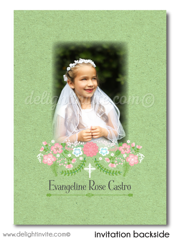 Digital Vintage 1st Holy Communion Invitation, Communion Invites for Girls, Mint and Peach Communion Invitation, Photo Communion Invite