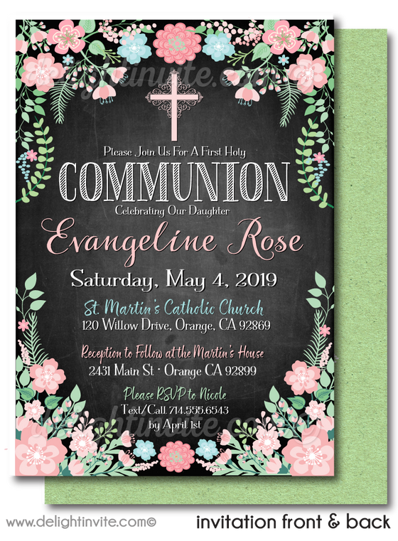 Botanical Peoni Vintage First 1st Holy Communion Invites for Girls