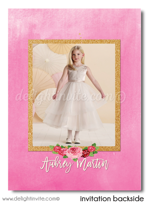 Shabby Chic Rose Pink and Gold First 1st Holy Communion Invitation Digital Download