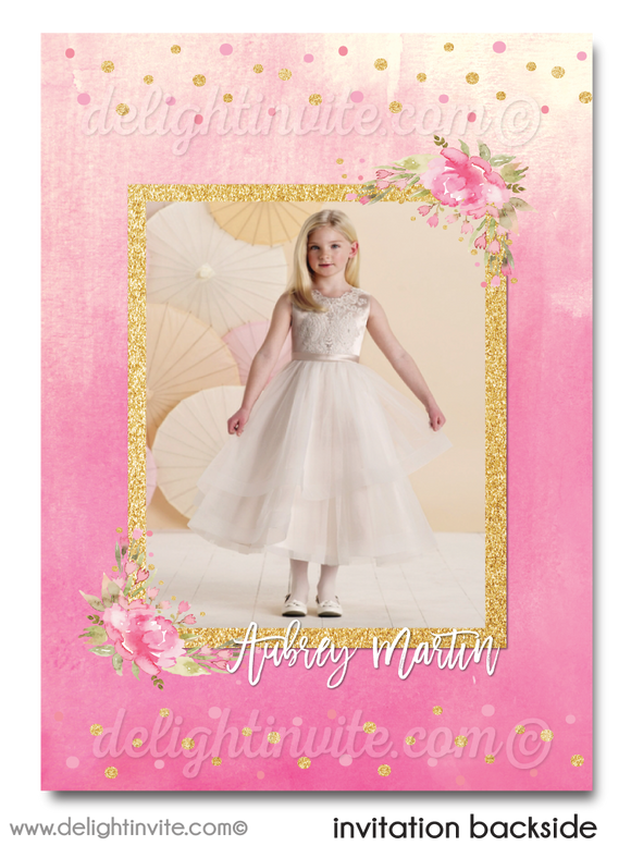 Digital 1st Holy Communion Invitations, Shabby Chic First Holy Communion Invites for Girls, Pink & Gold First Holy Communion Invites