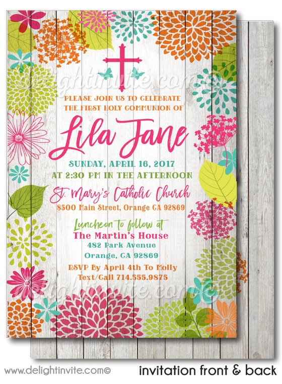 Girls' Botanical Floral Spring First 1st Holy Communion Invitation Digital Download
