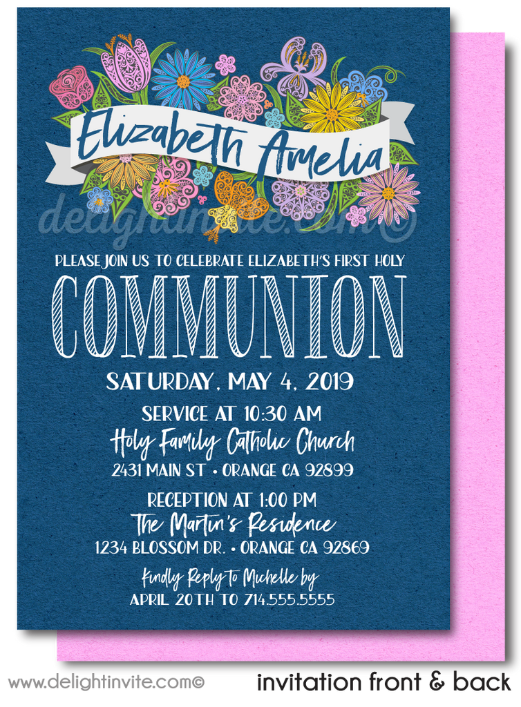 Navy and Pink Floral First Holy Communion Invites for Girls