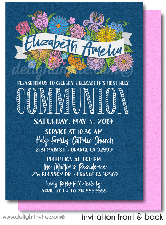 Navy and Pink Floral First 1st Holy Communion Invites for Girls