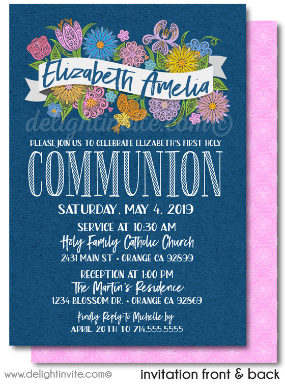 Navy Blue Floral Watercolor First 1st Holy Communion Invitation Digital Download
