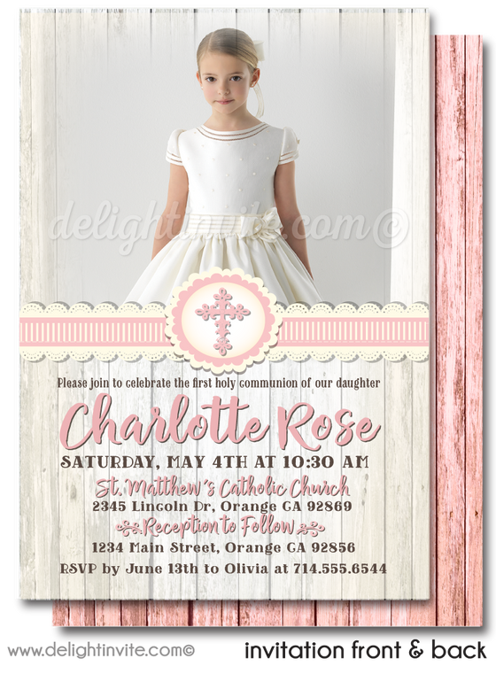 Rustic Pink Lace First 1st Holy Communion Invitation Digital Download