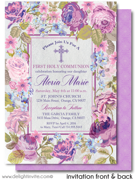 Violet Roses 1st First Holy Communion Invites for Girls