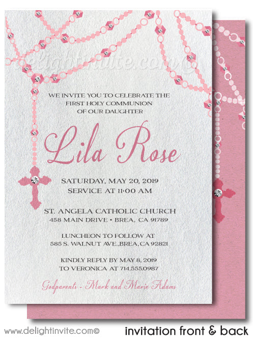 Vintage Pink Rosary First 1st Holy Communion Invitation Digital Download