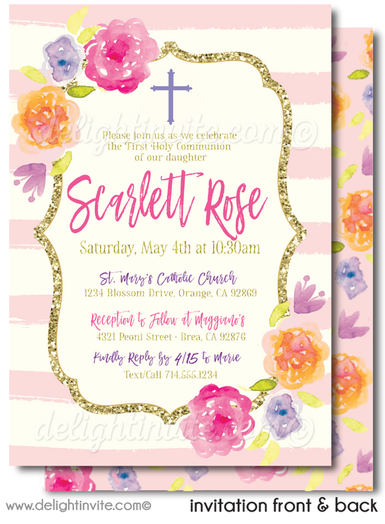 Watercolor Rose First 1st Holy Communion Invites for Girls