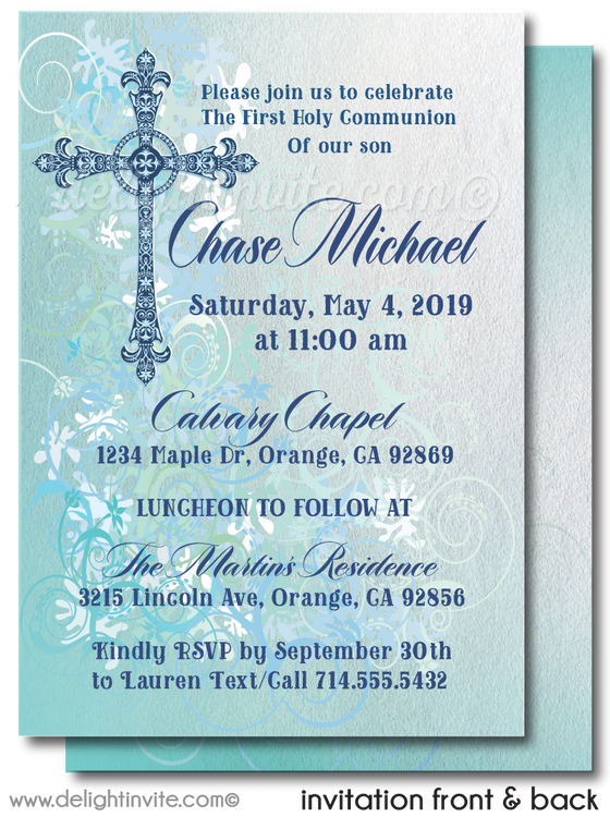 Grunge Hipster First 1st Holy Communion Invitations for Boys